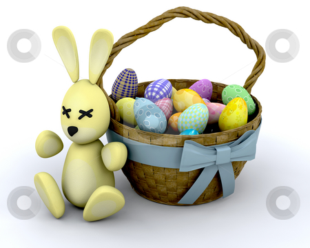 Easter bunny stock photo, Easter bunny sat by a basket of Easter eggs by Kirsty Pargeter
