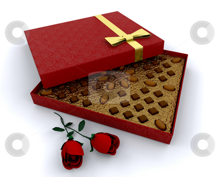 Box of chocolates stock photo, Luxury box of chocolates with red roses by Kirsty Pargeter
