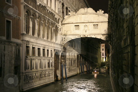 Ponte dei Sospiri stock photo, The Bridge of Sighs or with its Italian name the Ponte dei Sospiri at night, Venice, Italy, Europe by mdphot