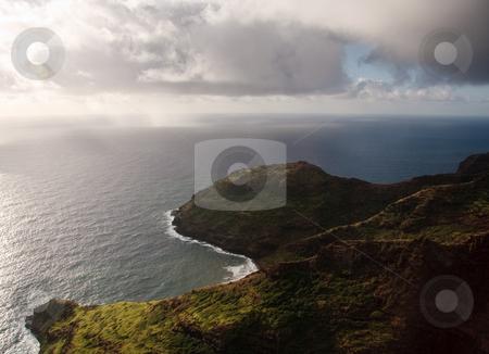 Aerial view of the coastline of Kauai stock photo, View of rocky headlands on coast of Kauai near Na Pali by Steven Heap