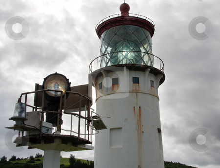 Kilauea Lighthouse on Kauai with its modern replacement stock photo, Close up of the Kilauea lighthouse off the coast of Kauai with a modern replacement lamp by Steven Heap