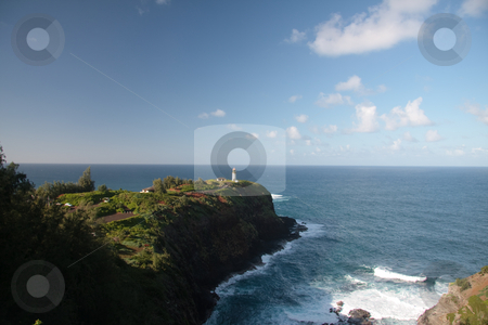 Kilauae Lighthouse off Kauai stock photo, View of the rocky cliff on which the Kilauae Lighthouse was built by Steven Heap