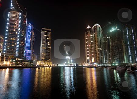 Cityscape of Dubai stock photo, Towering city skyscraper blocks in Dubai by Steven Heap