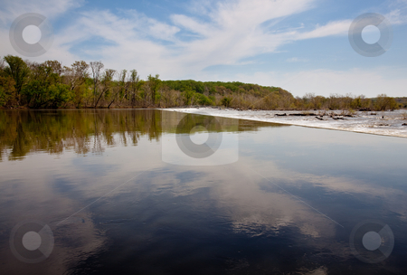 Placid water before Great Falls stock photo, River Potomac in broad reflective view prior to the first dam on the river at Great Falls by Steven Heap