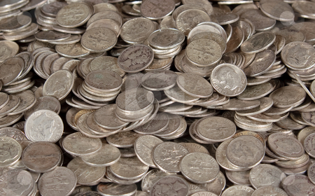 Pile of silver dime coins stock photo, Stack of pure silver coins - US 10c dime pieces by Steven Heap