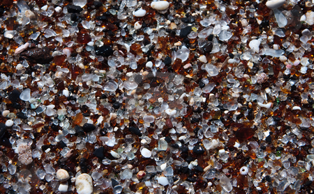 Close up of the beach at Glass Beach in Kauai stock photo, Background or pattern based on the glass fragments on beach by Steven Heap
