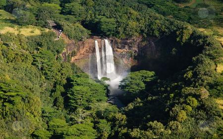 Wailua Falls near Lihue in Kauai stock photo, Aerial view of Wailua Falls in Kauai by Steven Heap