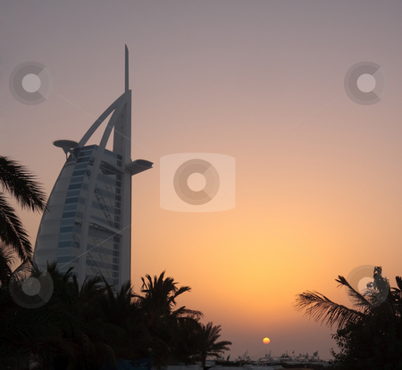 Burj al Arab Hotel in Dubai stock photo, Sunset over the Burj al Arab Hotel in Dubai by Steven Heap