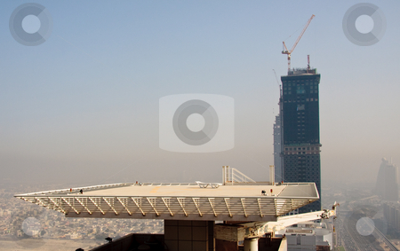 Cityscape of Dubai stock photo, Towering city skyscraper blocks in Dubai by Steven Heap