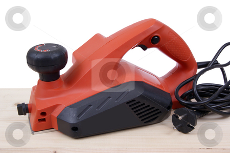 grinding machine stock photo, Electric grinding machine on board on white background by Jolanta Dabrowska