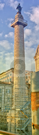 Trajan's Column stock photo, Trajan's Column Rome.  Column in honor of the Roman Emperor, Trajan.  Completed in A.D. 113, it stands 30 meters (98 feet) hight.  It is near the Quirinal Hill, north of the Roman Forum. by Thomas Marchessault