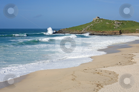Atlantic sea breaks on Porthmeor beach in St. Ives, Cornwall UK. stock photo, Atlantic sea breaks on Porthmeor beach in St. Ives, Cornwall UK. by Stephen Rees