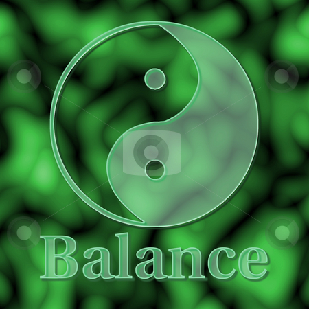 Balance of Yin Yang stock photo, Balance illustrated with a glass yin yang symbol on green - raster illustration. by Karen Carter