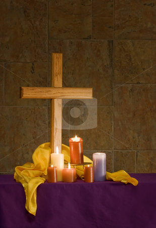 Christian alter with cross and candles stock photo, Christian alter with cross and lit candles by Scott Griessel