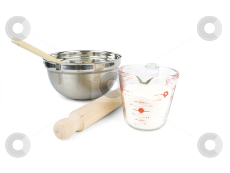 Baking Supplies stock photo, Baking supplies on a white background with bowl by John Teeter