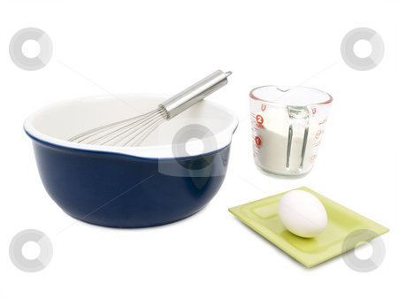 Cooking stock photo, Cooking utensils on a white background with egg by John Teeter