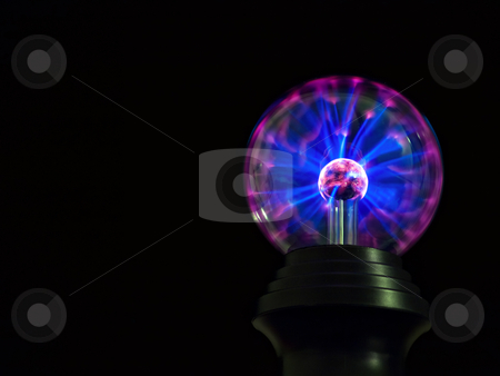 Plasmatron stock photo, Colorful plasmatron  on a black background with  space to add text. by Sinisa Botas