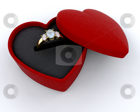 Engagement ring stock photo, Engagement ring in a heart shaped box by Kirsty Pargeter
