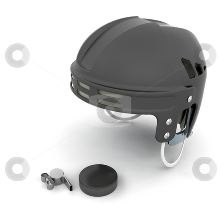 Ice hockey helmet, puck and whistle stock photo, 3D render of ice hockey referee items by Kirsty Pargeter