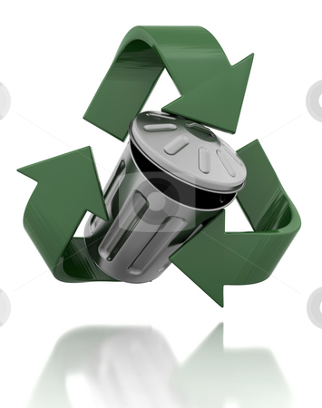 Recycle stock photo, Trash can in a recycling symbol by Kirsty Pargeter