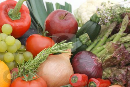Fruit and vegetables stock photo, Display of fruit and vegetables by Kirsty Pargeter