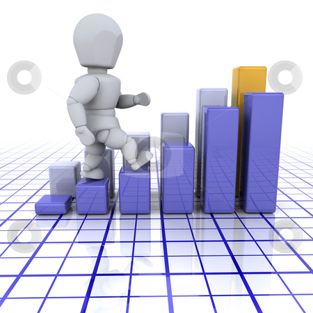 Success stock photo, 3D render of someone climbing up a bar chart by Kirsty Pargeter