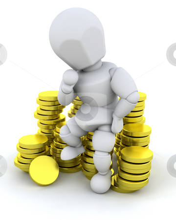 Person sat on coins stock photo, Person sat on a stack of gold coins by Kirsty Pargeter