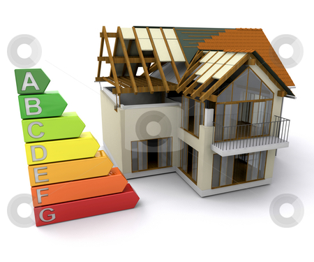House with energy ratings stock photo, House under construction with energy ratings by Kirsty Pargeter