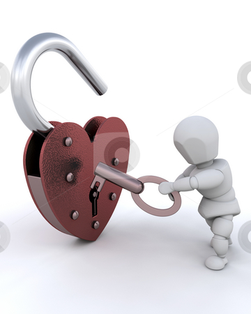 Unlocking padlock stock photo, Person unlocking heart shaped padlock by Kirsty Pargeter