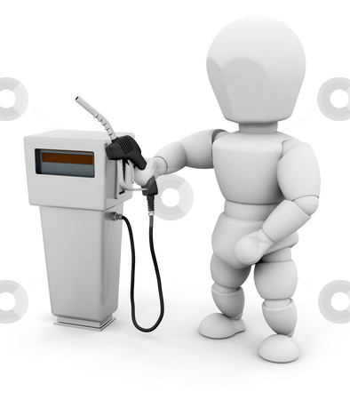 Person at fuel pump stock photo, 3D render of a person at a fuel pump by Kirsty Pargeter