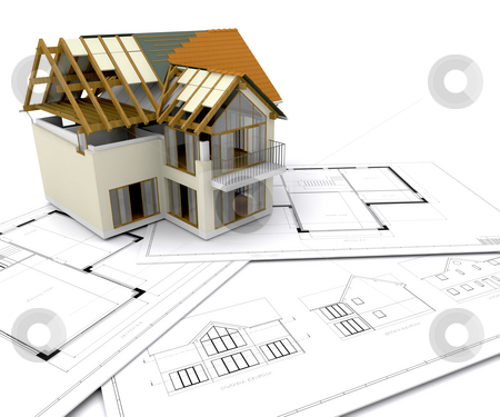 House under construction stock photo, House under construction on blueprints by Kirsty Pargeter