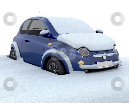 Stuck in the snow stock photo, Car stuck in deep snow by Kirsty Pargeter