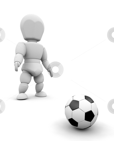 Footballer stock photo, 3D render of someone with a football by Kirsty Pargeter