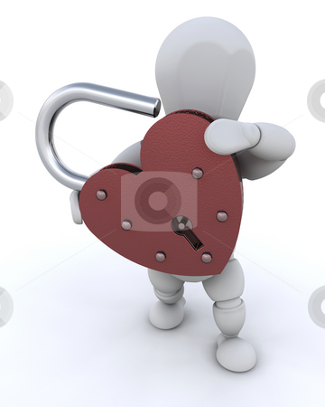 Heart padlock stock photo, Person holding a heart shaped padlock by Kirsty Pargeter