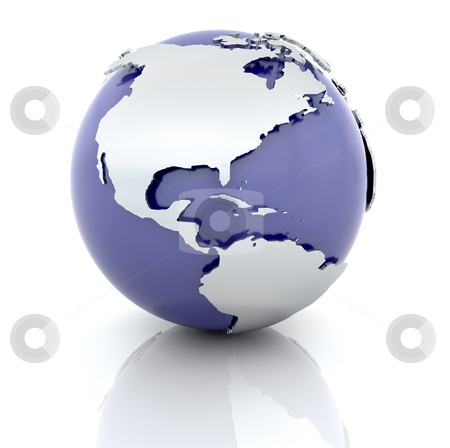 Blue globe stock photo, 3d render of a globe by Kirsty Pargeter