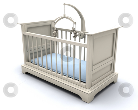 Cot for baby boy stock photo, 3D render of a cot for a baby boy by Kirsty Pargeter