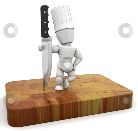 Chef stock photo, 3D render of a chef with a knife on a chopping board by Kirsty Pargeter