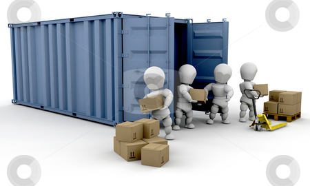Unloading boxes stock photo, 3D render of people unloading boxes from a freight container by Kirsty Pargeter