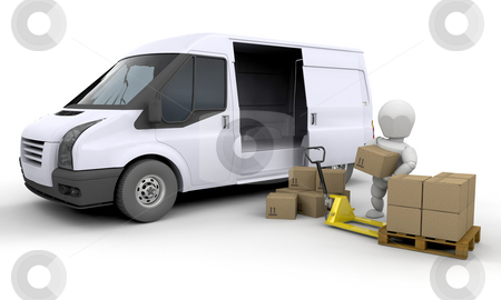 Unloading a van stock photo, 3D render of someone unloading a van by Kirsty Pargeter