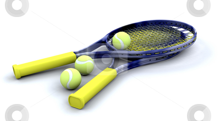 Tennis racquets and balls stock photo, Tennis racquets and balls by Kirsty Pargeter