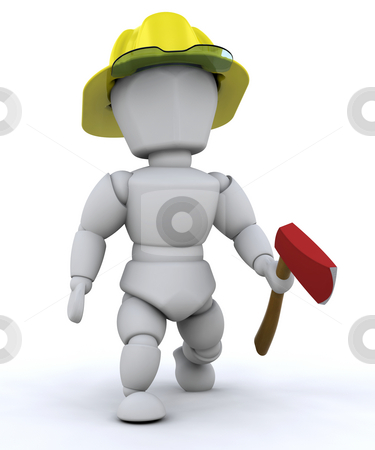 Fireman stock photo, 3D render of a fireman by Kirsty Pargeter