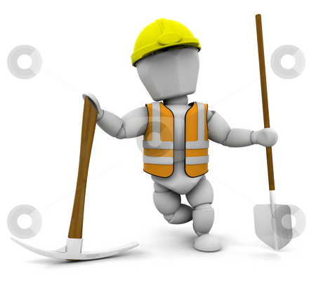 Construction worker stock photo, 3D render of a construction worker by Kirsty Pargeter