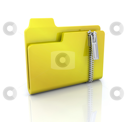 Zipped folder icon stock photo, 3D computer icon for zipped folder by Kirsty Pargeter
