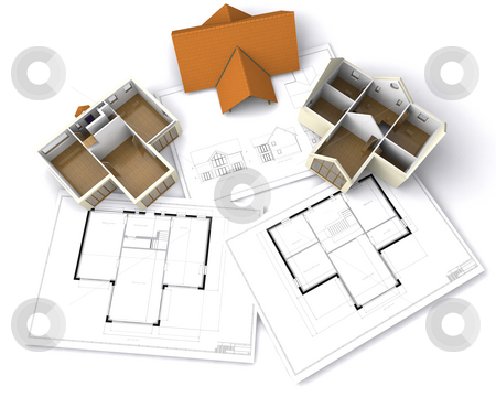 Contemporary house stock photo, Contemporary house on floor plans by Kirsty Pargeter