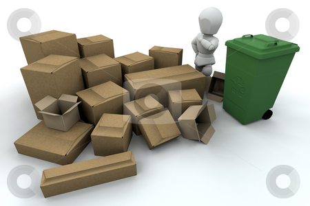 Recycling stock photo, 3D render of someone stood amongst things to recycle by Kirsty Pargeter