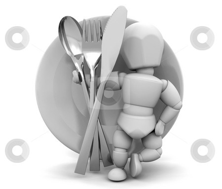 Dinner service stock photo, 3D render of someone with a dinner service by Kirsty Pargeter