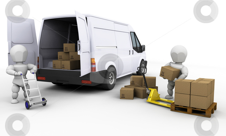 Unloading a van stock photo, 3D render of people unloading boxes from a van by Kirsty Pargeter
