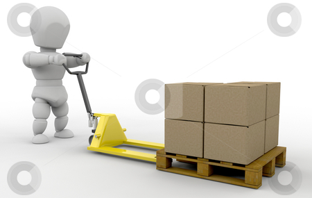 Person with pallet truck stock photo, 3D render of someone with a pallet truck by Kirsty Pargeter
