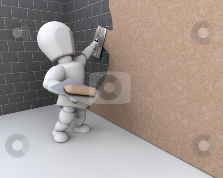 Person plastering a  wall stock photo, 3d render of a person plastering a brick wall by Kirsty Pargeter