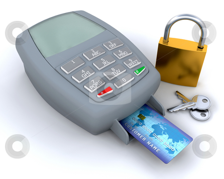 Secure purchase stock photo, Credit card in machine with padlock and key by Kirsty Pargeter